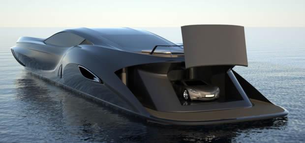 Strand Design 166 superyacht has sportscar garage, optional bullet-proof Samurai leather
