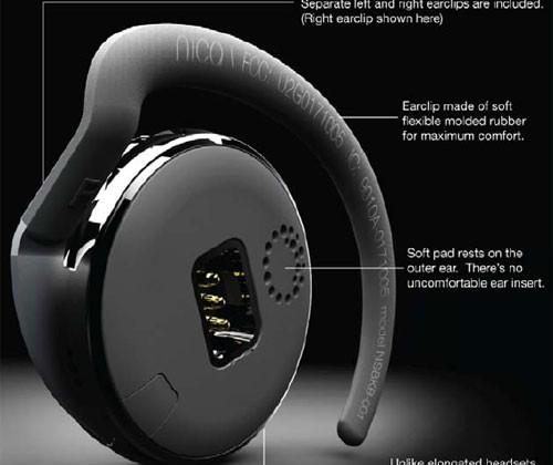 Nica Sunrise Bluetooth headset looks like a hockey puck