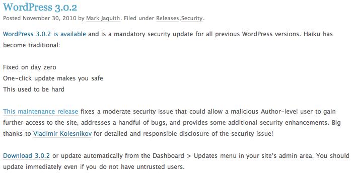 WordPress Updates to Version 3.0.2 – Do It!