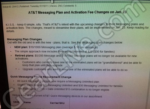 Leaked Image Shows AT&T is Changing Messaging Plans on January 23rd