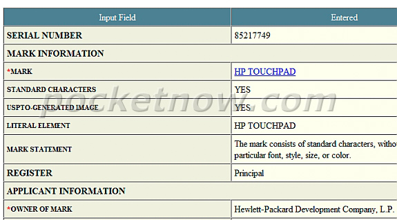 HP Touchpad Trademark Filed, Possible Tablet Name?