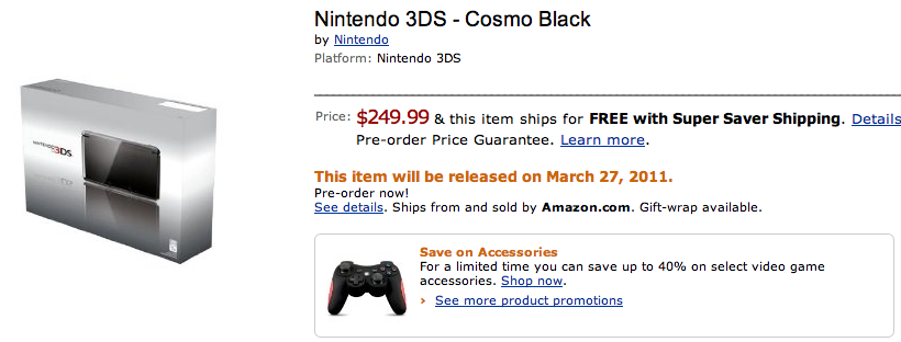 Nintendo 3DS Available for Pre-Order at Amazon