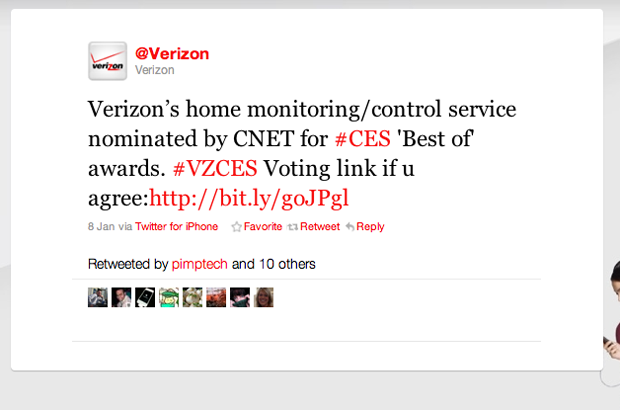 Verizon Tweets from Twitter for iPhone