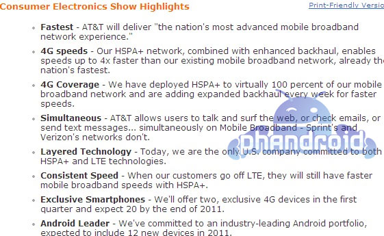 AT&T leak: 12 new Androids in 2011, 20 4G devices