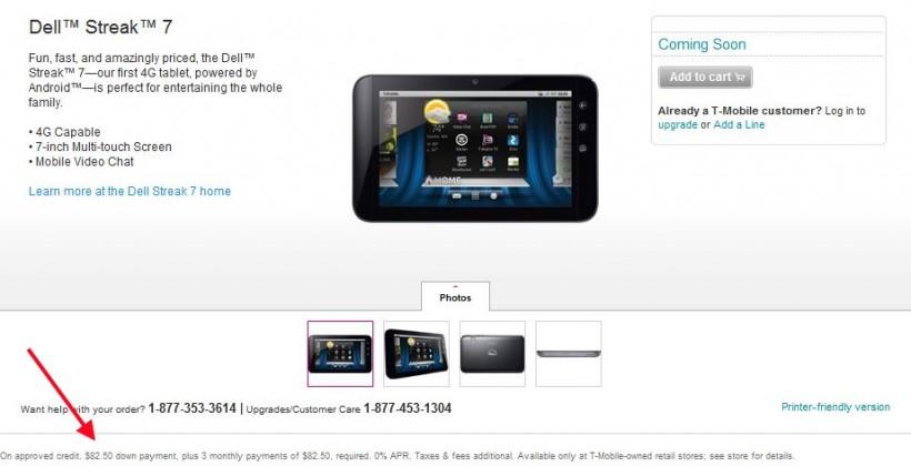 T-Mobile Dell Streak 7 tipped at $330 by fine-print