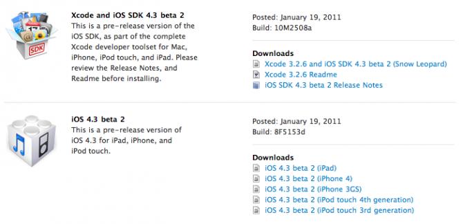 iOS 4.3 Beta 2 Released
