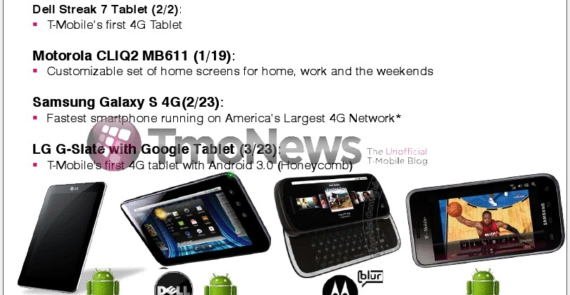 LG G-Slate, Dell Streak 7, and Samsung Galaxy S 4G Release Dates