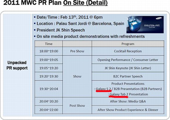 Samsung MWC Slide Confirms Galaxy S 2 and Tab 2
