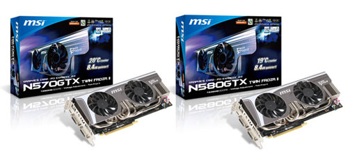 MSI offers new N570GTX and N580GTX Twin Frozr II video cards