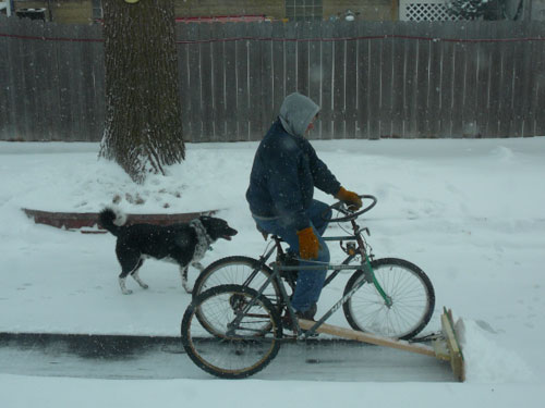DIY pedal-powered snowplow