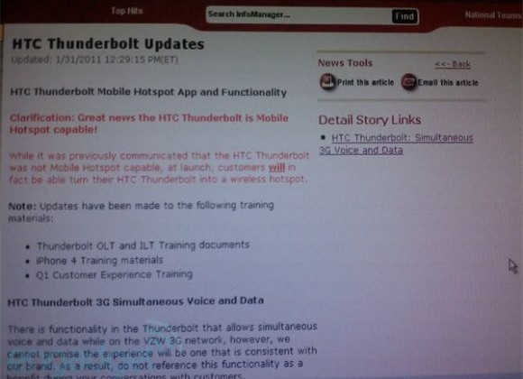 HTC Thunderbolt Will Function as Mobile Hotspot