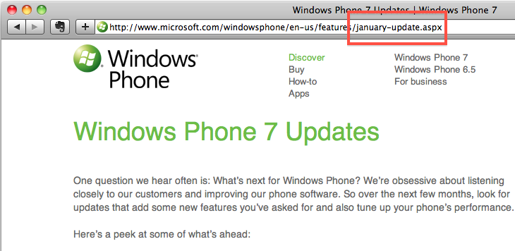 Windows Phone 7 update coming January says preview page URL