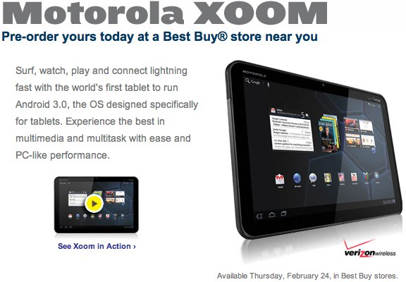 Motorola XOOM pre-order at Best Buy: February 24 release