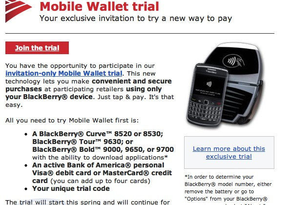 Bank Of America Testing Mobile Wallet With NFC BlackBerry Smartphones