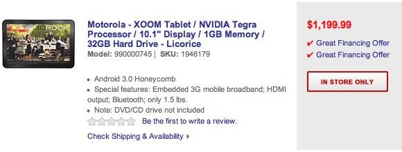 Motorola Xoom $1200 Best Buy Pre-Order Page Pulled