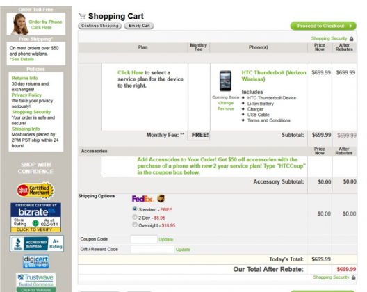 HTC Thunderbolt Available Online But Can't Checkout