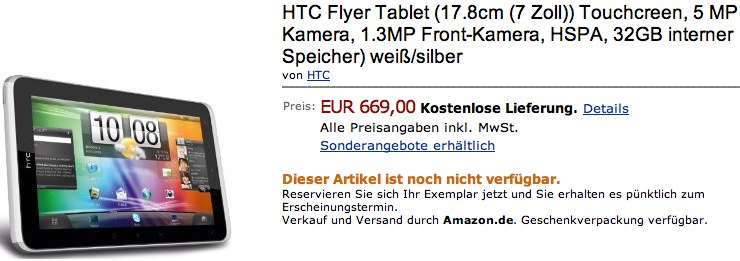 HTC Flyer priced by Amazon Germany