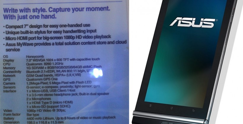 ASUS Eee Pad MeMO fully detailed: 7-inch Honeycomb Flyer rival [Update: Video & Price]
