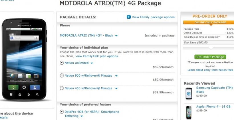 AT&T Motorola ATRIX 4G pre-orders open