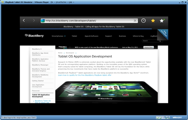 BlackBerry PlayBook simulator updated with browser: Flash & HTML5 Video/Audio