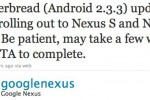 Android 2.3.3 Gingerbread for Nexus S and Nexus One now OTA