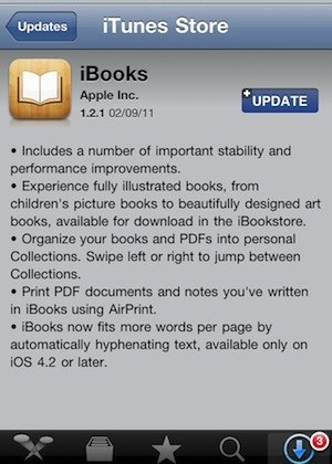 iBooks Update 1.2.1 For iPhone/iPad Available Today