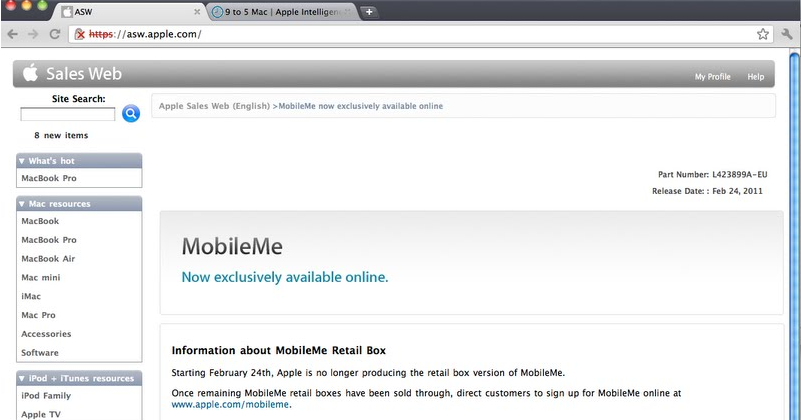 MobileMe online-only shift detailed by leaky Genius