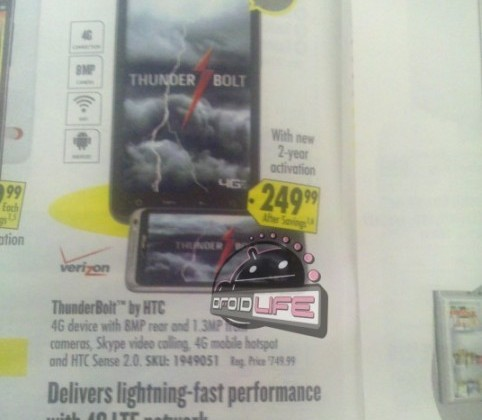 HTC Thunderbolt At Best Buy Price Confirmed