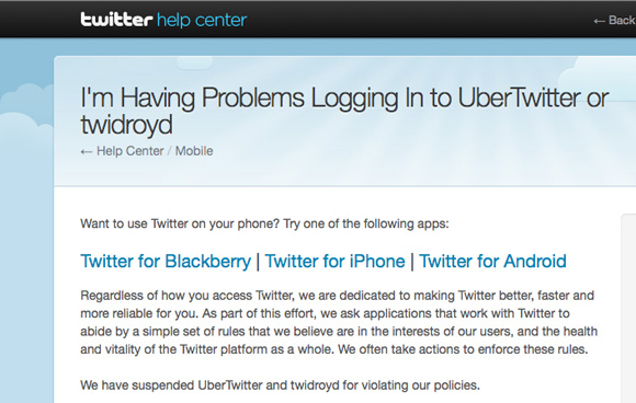 Twitter Suspends Ubermedia's Twidroyd And UberTwitter