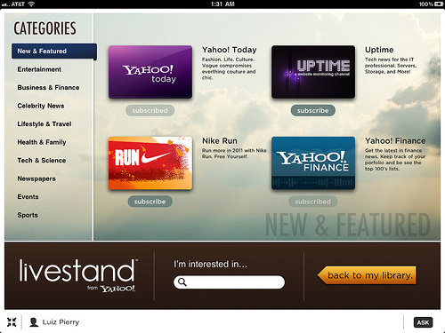 Yahoo Announces LiveStand Digital Newstand