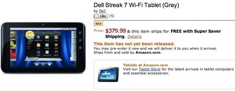 WiFi-only Dell Streak 7 pre-orders open