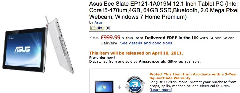 ASUS Eee Slate EP121 gets official release date
