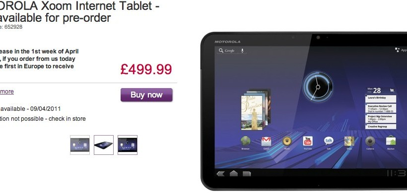 Motorola XOOM 3G and WiFi pre-orders open; Ships in UK April 9