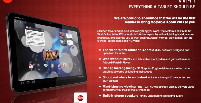 Motorola XOOM WiFi reappears with inflated price