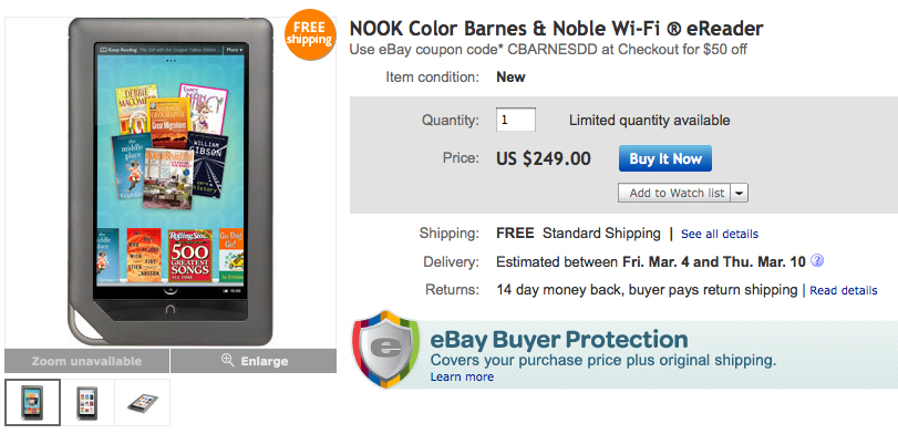 NOOKcolor Selling On Barnes & Noble's eBay Store For $199 After Coupon