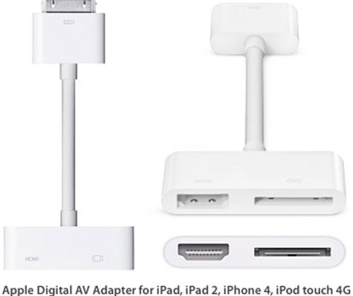 Apple Digital AV Adapter will work with iPad, iPad 2, iPhone 4, and iPod touch 4G
