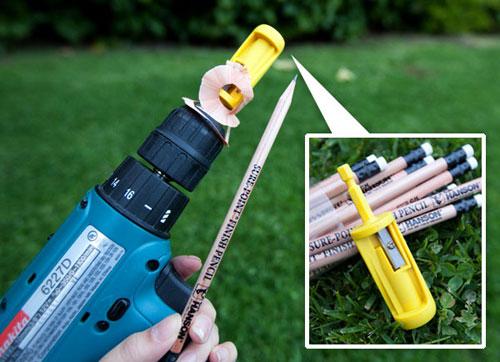Drill powered pencil sharpener!