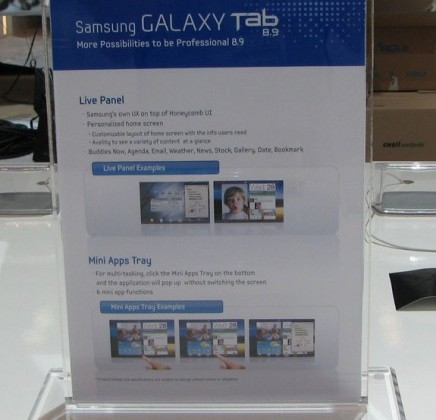Samsung Galaxy Tab 8.9 Display Pictures Spied