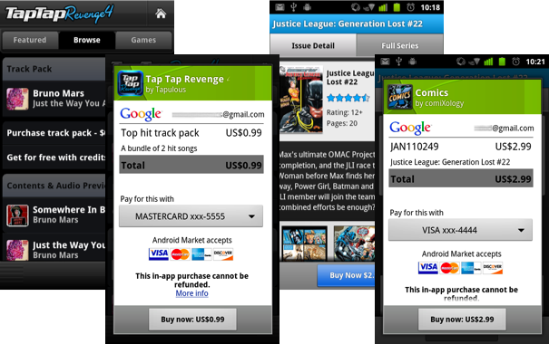 Android Market in-app billing enabled: Try-and-Buy apps, extra levels, more