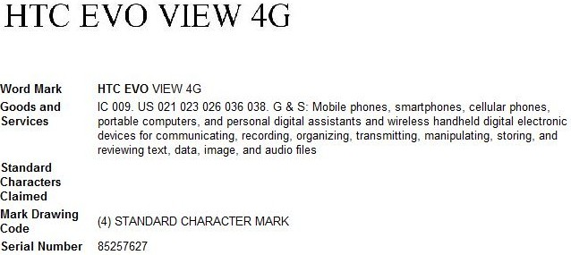 HTC EVO View 4G trademark: Sprint WiMAX Flyer incoming?