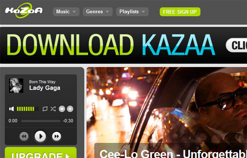 Kazaa music streaming for iPhone, iPad and Android without an app