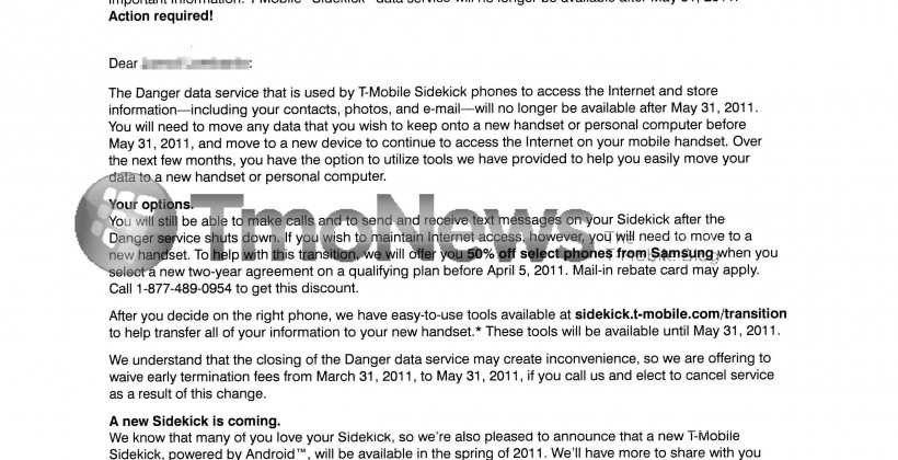 T-Mobile Sidekick letter offers 50% off Samsung upgrades or waived ETFs