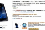 Acer Aspire ICONIA Tab A100 hits Amazon pre-order