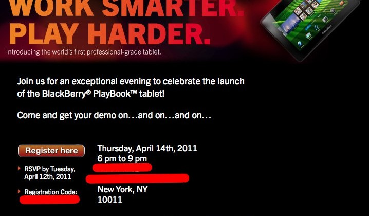 BlackBerry PlayBook Event Invite Sent to Press