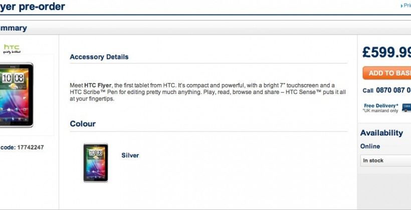 HTC Flyer up for SIM-free UK pre-order