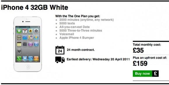 Three backtracks on white iPhone 4 listing