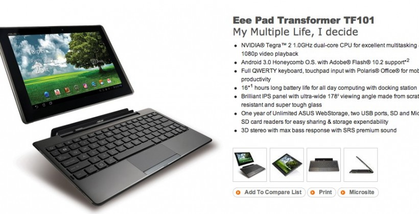ASUS Eee Pad Transformer gets officially detailed