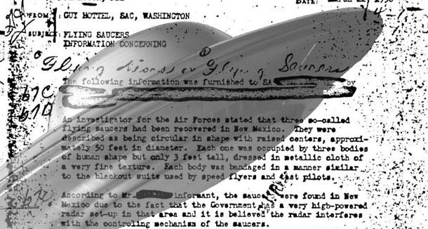 FBI Vault website has memo from Roswell crash investigator