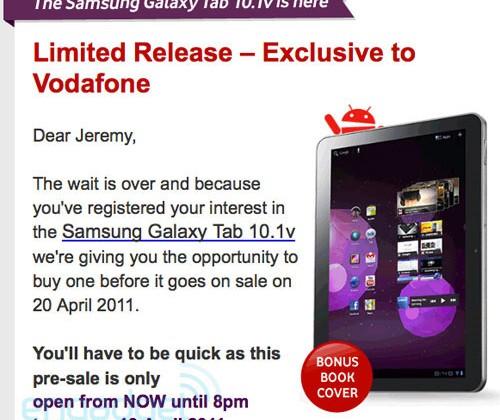 Galaxy Tab 10.1v pre-orders underway at Vodafone Australia
