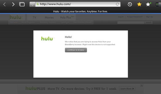 Hulu Blocks Support For BlackBerry PlayBook